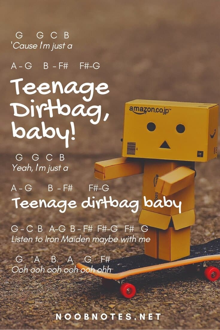 Teenage Dirtbag Wheatus Letter Notes For Beginners Music Notes
