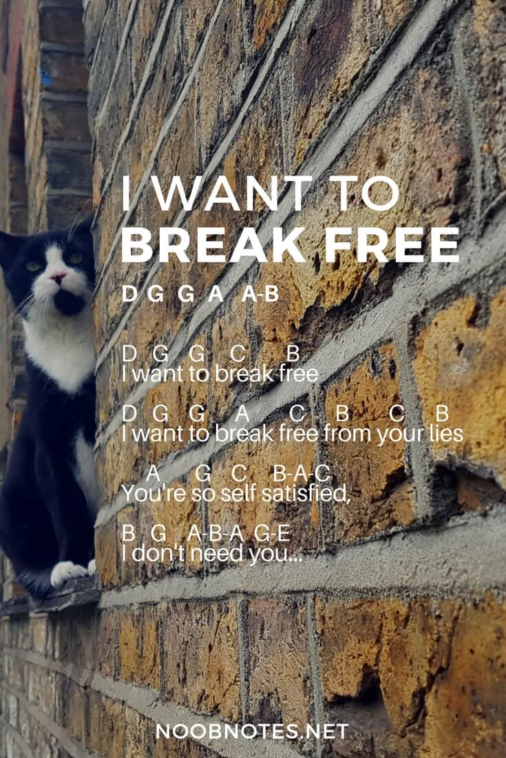 I Want to Break Free – Queen letter notes for beginners - music