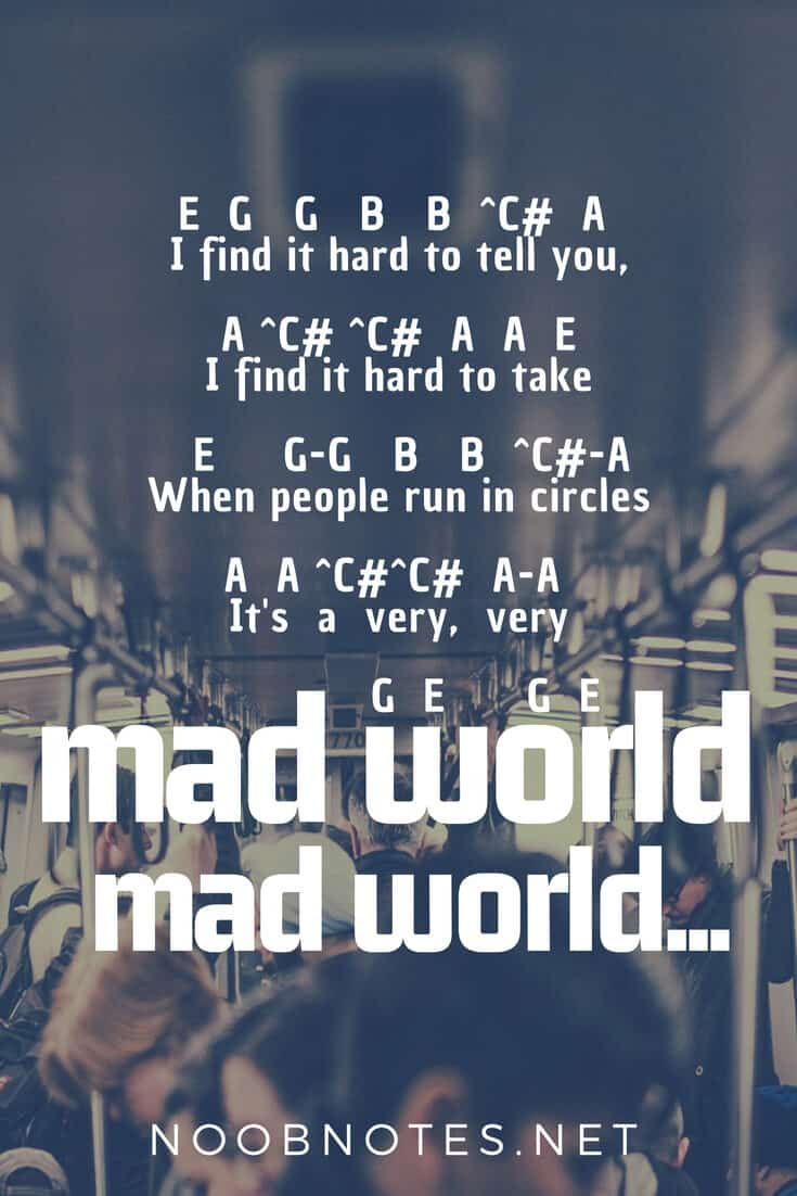 Mad World Tears For Fears Gary Jules Letter Notes For Beginners