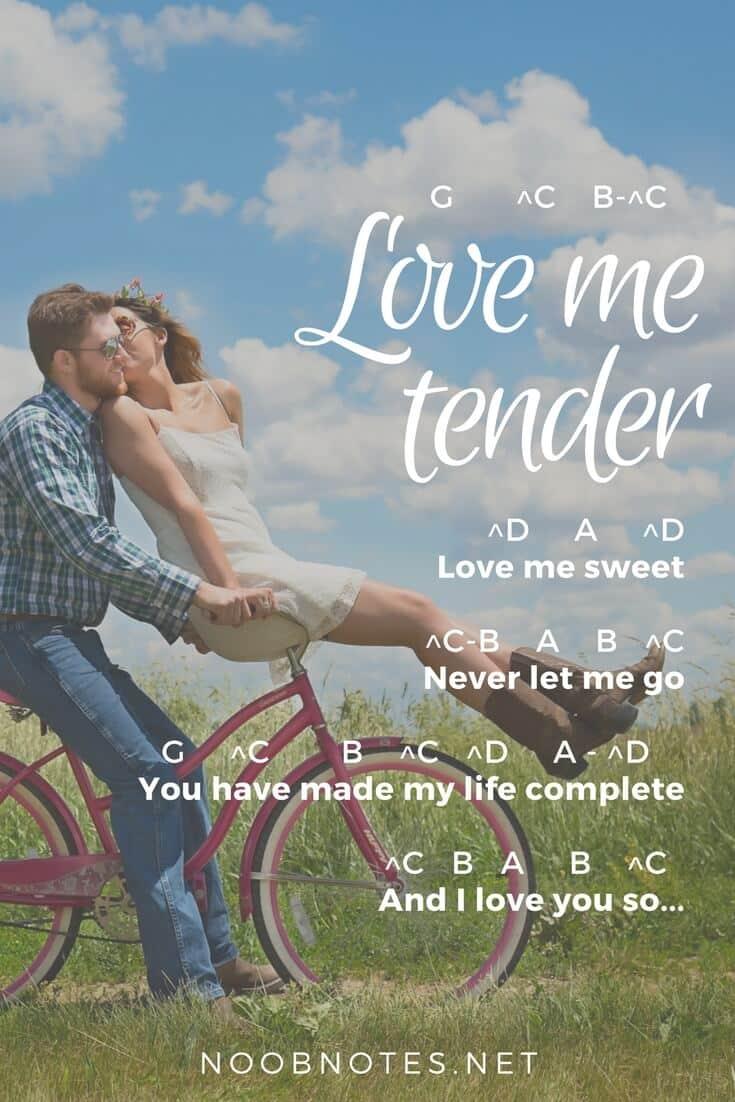 Love Me Tender Elvis Presley Letter Notes For Beginners Music