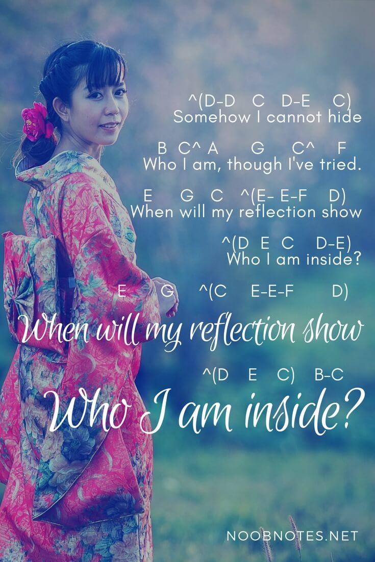 Reflection – Mulan (Disney) letter notes for beginners
