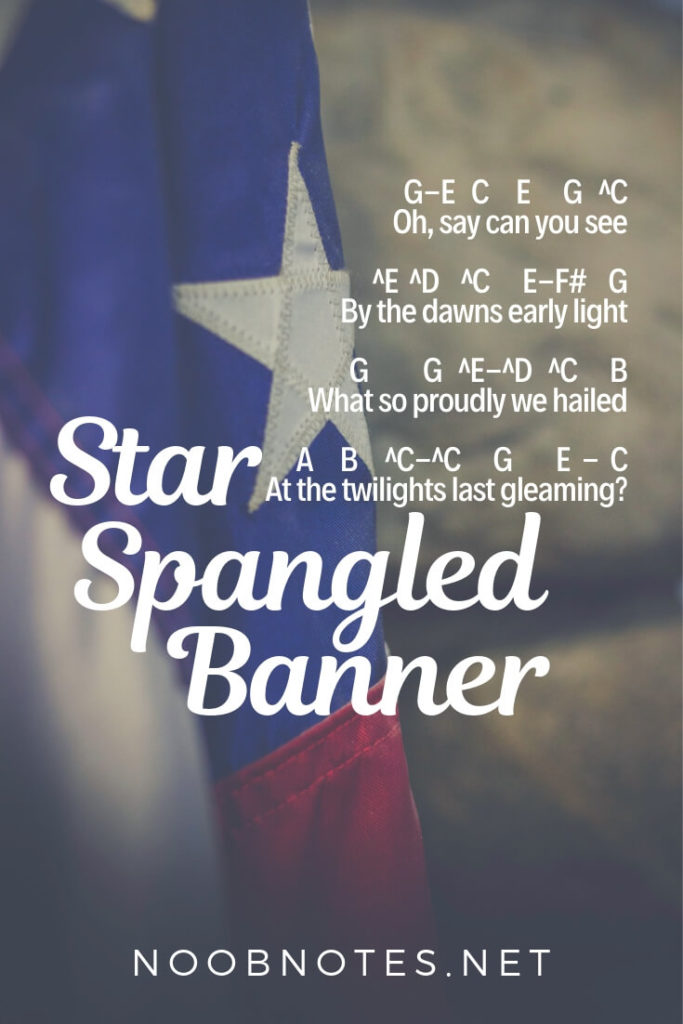 Star Spangled Banner Traditional Letter Notes For Beginners Music Notes For Newbies