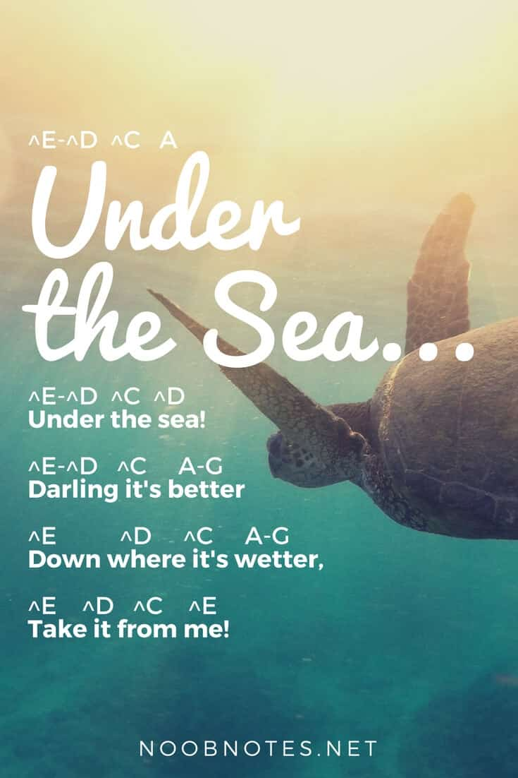 Under The Sea The Little Mermaid Disney Letter Notes For Beginners Music Notes For Newbies