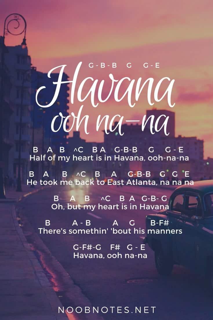 Havana – Camila Cabello letter notes for beginners - music