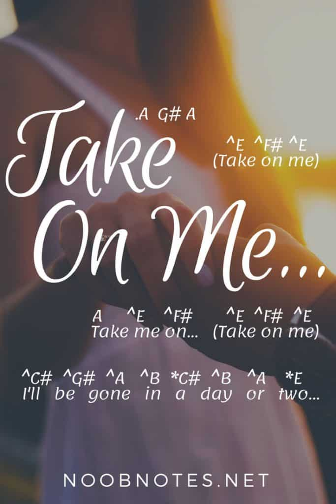 Take on Me – A-ha letter notes for beginners - music notes