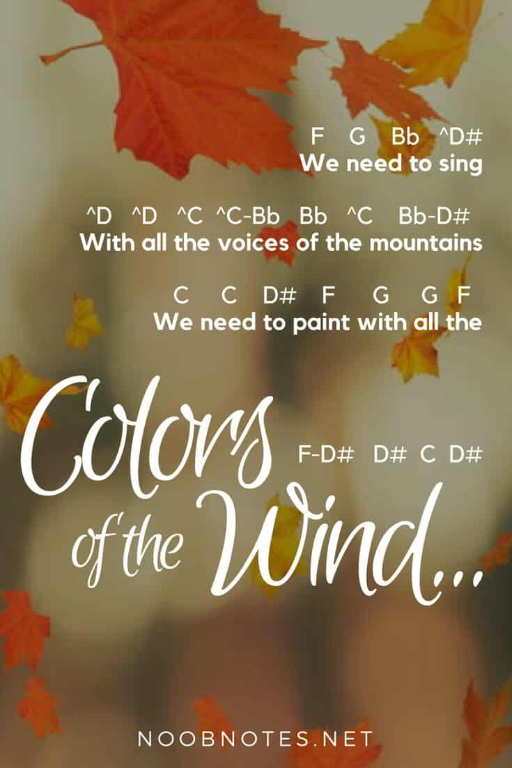 Colors of the Wind – Pocahontas (Disney) letter notes for