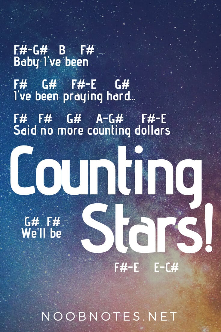 Counting Stars – One Republic letter notes for beginners - music